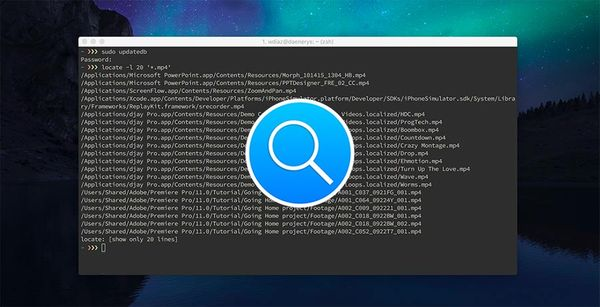 How to search files or directories on Mac using the command locate