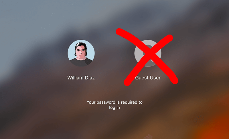 How to remove the Guest user from the login on MacOS